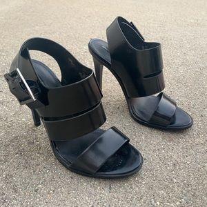 Zara Black Thick Strap Stiletto Heels Size 36
